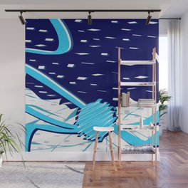 Snow in Space with the Blue Planet Abstract Art Wall Mural