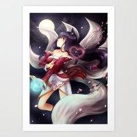 league of legends Art Prints featuring League of legends Ahri by Rikku Hanari
