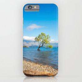 Clear blue morning at Lake Wanaka, New Zealand iPhone Case