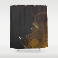 indiana jones Shower Curtains featuring The Lost Treasure of Tanis: Indiana Jones by Howling Youth