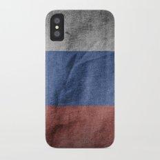 Old Vintage Grunge Russia Flag iPhone X Slim Case
