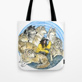 She runs with wolves Tote Bag