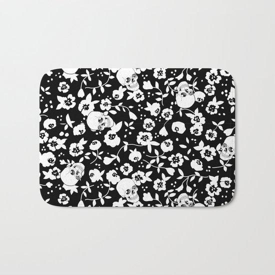 Skull Flowers Bath Mat