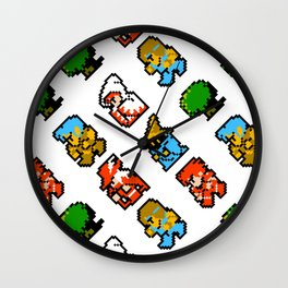 Final Fantasy | white || vintage retrogaming heroes Wall Clock