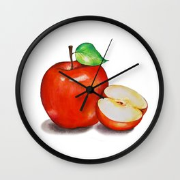 Juicy Red Apple with a Green Leaf and Half Cut Apple on a White Background. Wall Clock