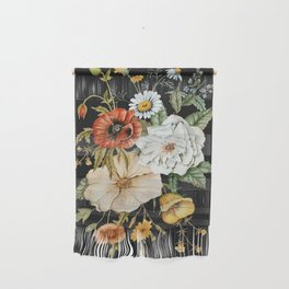 Wildflower Bouquet on Charcoal Wall Hanging