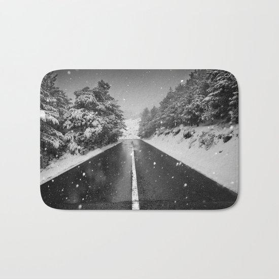 """The road"". Bw Bath Mat"