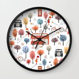London transport with an adult female Wall Clock