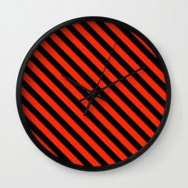 Bright Red and Black Diagonal LTR Stripes Wall Clock