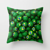 brazil Throw Pillows featuring BRAZIL FOOTBALLS by AMULET