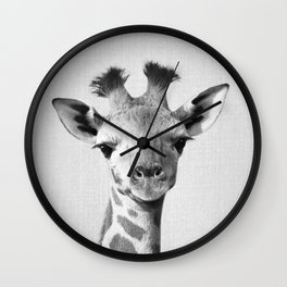 Baby Giraffe - Black & White Wall Clock
