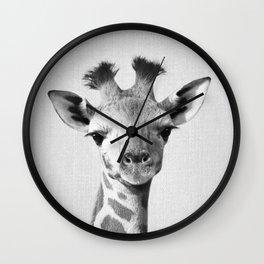 Baby Giraffe - Black & White Wall Clock