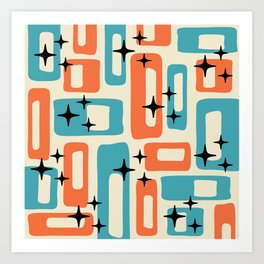 Retro Mid Century Modern Abstract Pattern 221 Orange and Blue Art Print