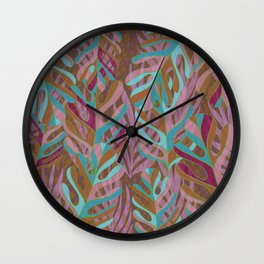 Tropical Burst, pink and green leaf pattern Wall Clock