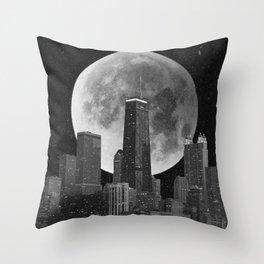 Full Moon Over Chicago Illinois Skyline Throw Pillow