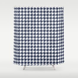 Navy Blue Classic houndstooth pattern Shower Curtain