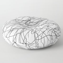 Hand Drawn Scribbles (black/white) Floor Pillow