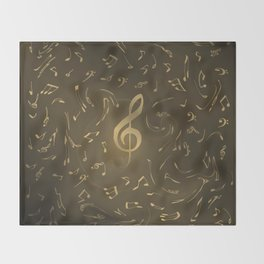 gold music notes swirl pattern Throw Blanket