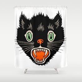 Vintage Halloween Black Cat Shirt Shower Curtain