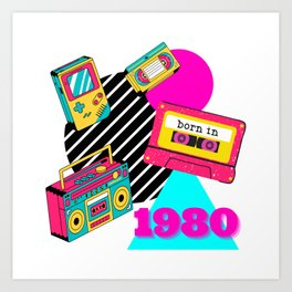 Born in 1980 Vintage Retro Nostalgia Birthday Gifts Art Print