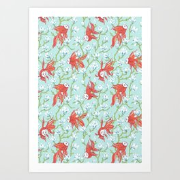 Goldfish, Mask and Magnolia Pattern Art Print