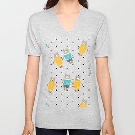 Cute bears in dotted background Unisex V-Neck