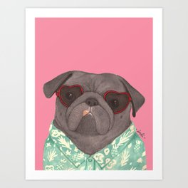 Hawaiian Pug Art Print