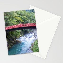 Sacred Red Bridge over the Forest River | Japan landscape photography Stationery Cards