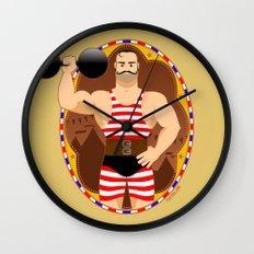Circus strongman Wall Clock