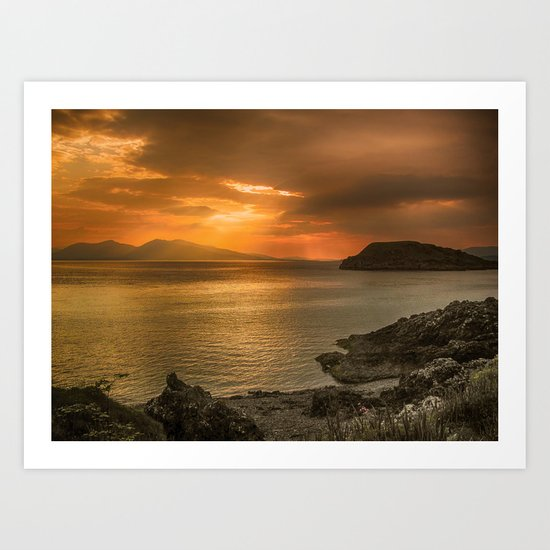 Sunset over Lismore Island of the shores of Oban in the west of Scotland. Art Print