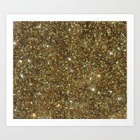 gold glitter Art Prints featuring Gold Glitter by NatalieBoBatalie