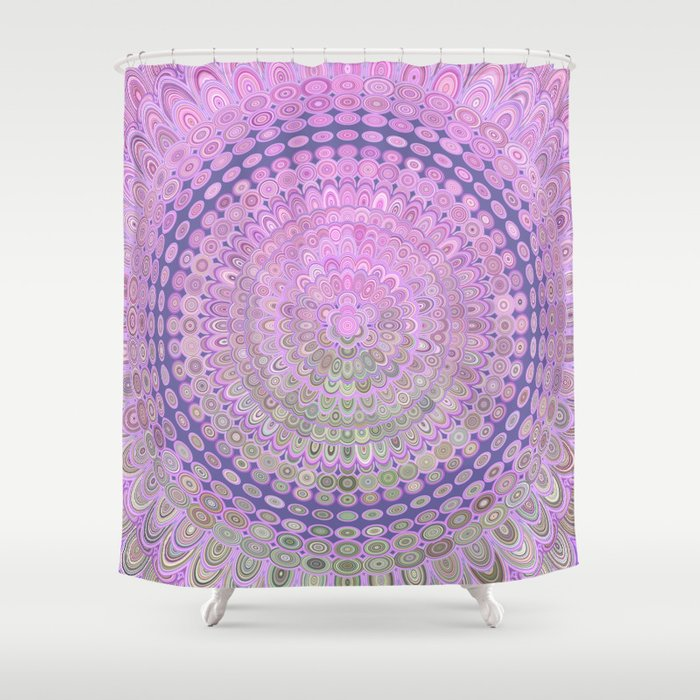 Pink Mandala Circle Shower Curtain by davidzydd | Society6