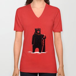 Bear on snowboard Unisex V-Neck