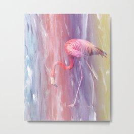 Flamingo in the Colored Rain #1 #tropical #decor #art #society6 Metal Print