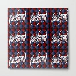 Skull chessboard pattern Metal Print