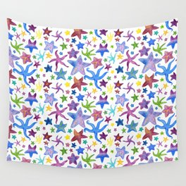 Rainbow Watercolor Starfish Pattern - White Wall Tapestry