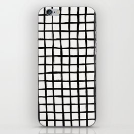 Strokes Grid - Black on Off White iPhone Skin