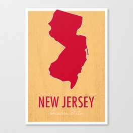 New Jersey State Map - Garden State Canvas Print