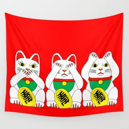 Three Wise Lucky Cats on Red Wall Tapestry