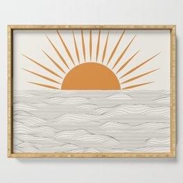 Minimalist Half Sun with Waves Drawing Doodle Art Print. Printable Modern Sunrise Illustration Decor Serving Tray