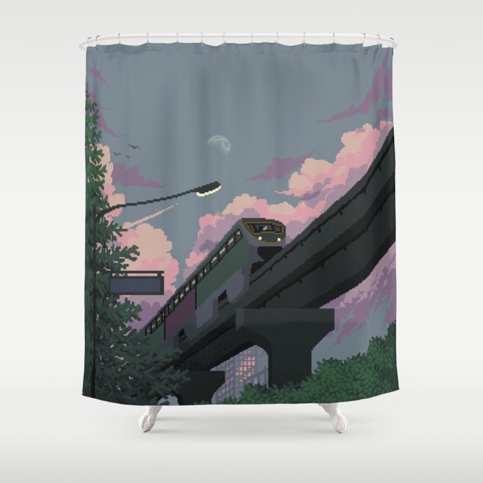 Moonrise Train Shower Curtain by software   Society6