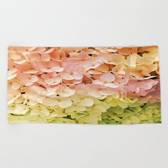 Delicate Pastel Multicolor Hydrangea Beach Towel