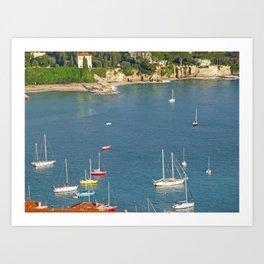 Boats in Villefranche Art Print