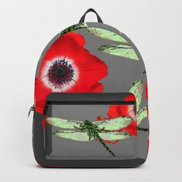 EMERALD GREEN DRAGONFLIES & RED POPPY FLOWERS GREY ART Backpack