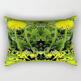 Green-Yellow  Gothic  Dandelions Architectural Fantasy Rectangular Pillow