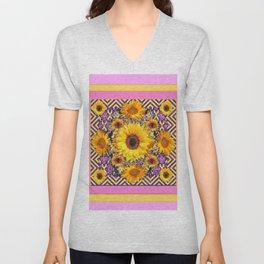 Pink Color & Yellow Sunflowers Garden Pattern Art Unisex V-Neck