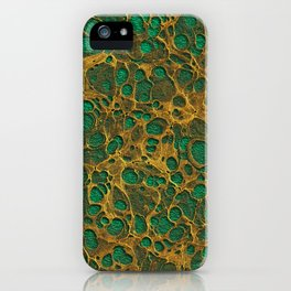 Dark Spring Green Gold Marble iPhone Case