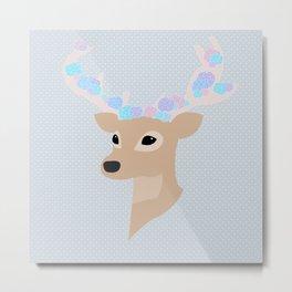 Floral Deer Metal Print