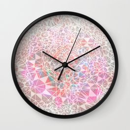 Geo batik pattern - pink Wall Clock