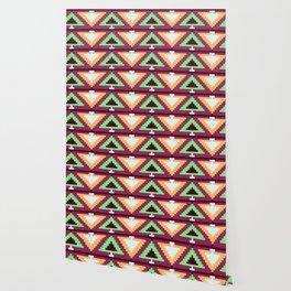 Native Aztec Dark Purple Downward Arrowhead Pattern Wallpaper